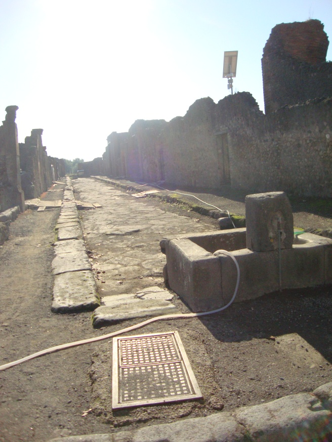 Streets with sidewalks. The roads were used by chariots