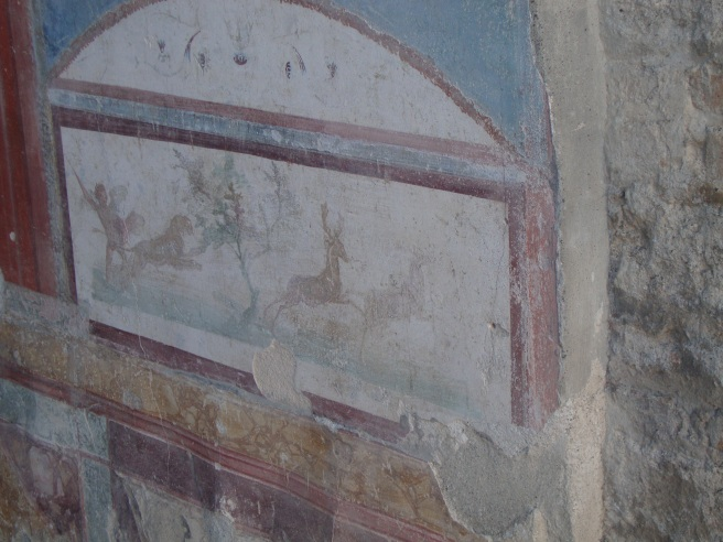 The walls of most houses were covered with paintings called