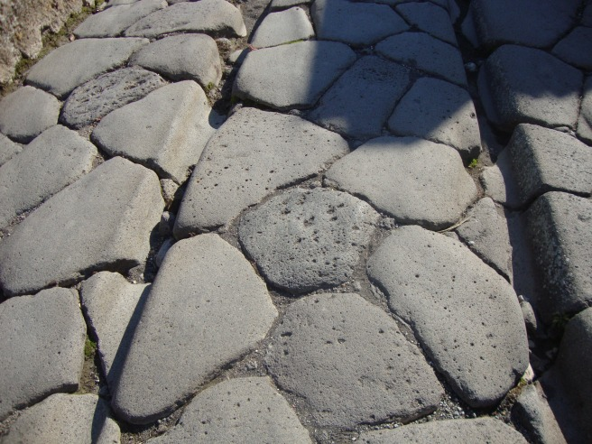 Ridges in the roads from the chariots