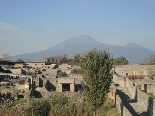 City of Pompeii with Mt. Vesuvius in the background