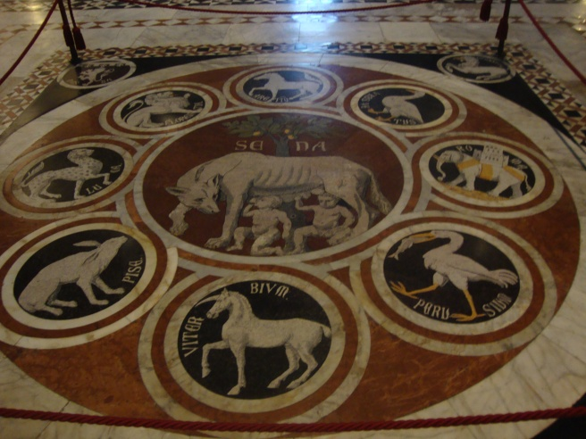 Flooring inside the church depicting the divisions of Tuscany