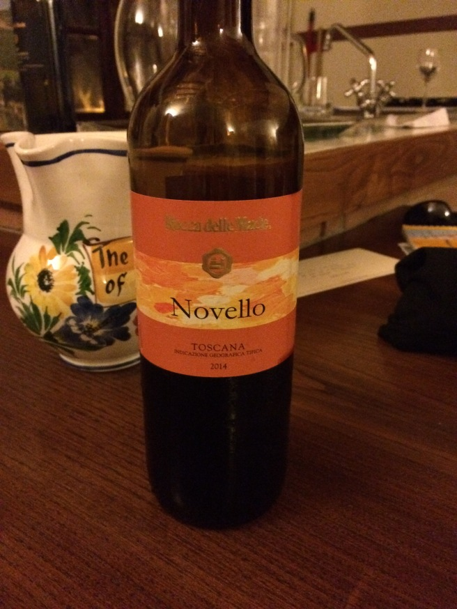 Novello wine. This is the first press from the year's grapes, typically only available in November and usually not exported. It's not considered