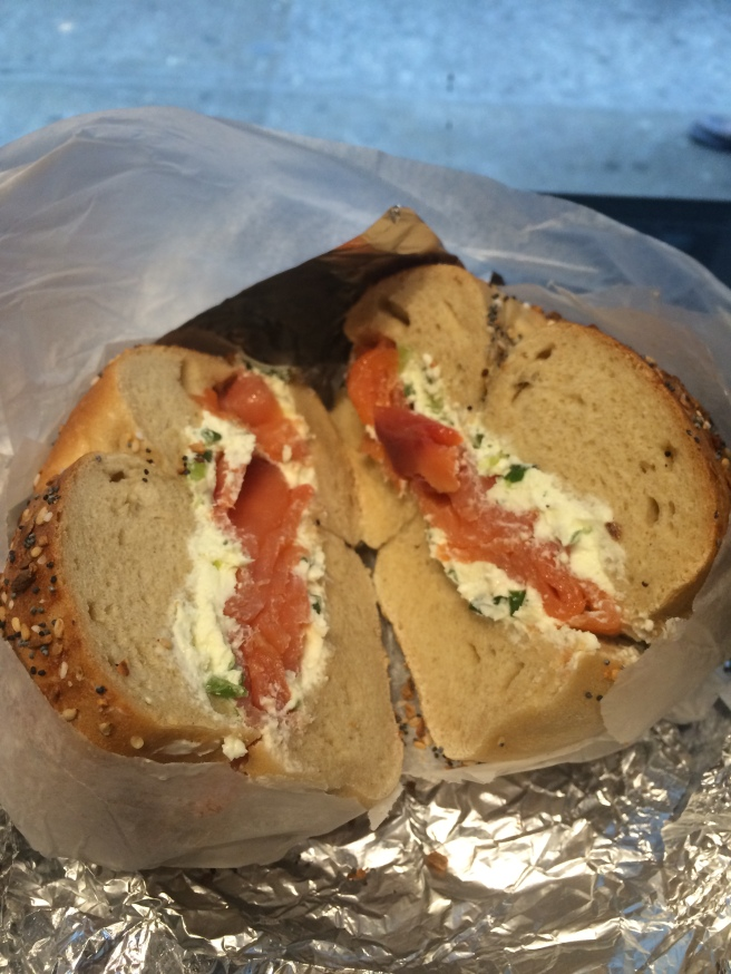 Everything bagel, smoked salmon, and scallion cream cheese. YUM.